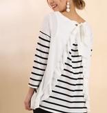 White Striped Ruffle Top