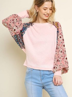 Blush Top with Mixed Floral Puff Sleeve- SALE ITEM