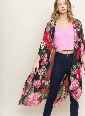 Floral Kimono with Frayed Hem Black Mix