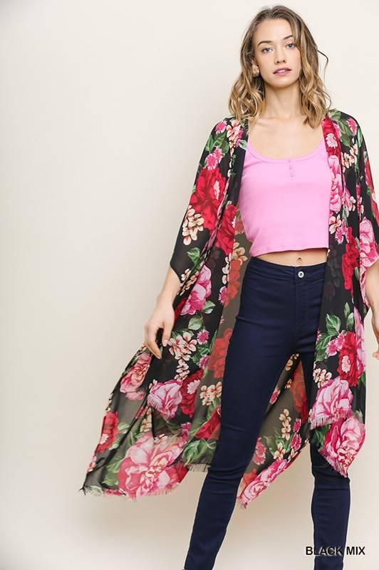 Floral Kimono with Frayed Hem Black Mix
