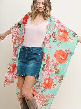 Floral Kimono with Frayed Hem Mint Mix