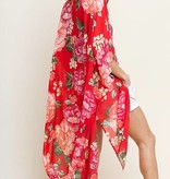Floral Kimono with Frayed Hem Red Mix