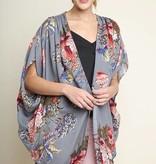 Cool Grey Mix Floral Kimono
