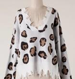 Ivory Leopard Fringe Cropped Sweater