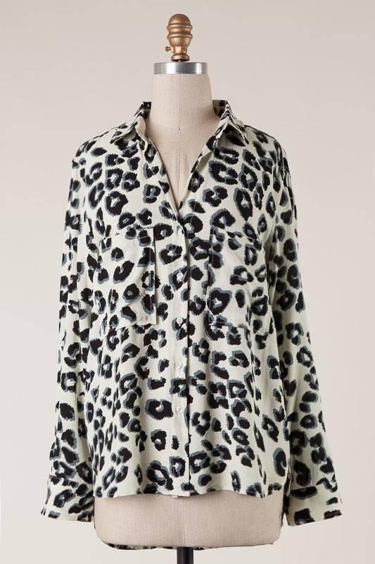 Cream/Grey Leopard Button Down Top