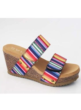 Multi Striped Wedge Sandal