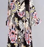 Black Ruffled Floral Print Tunic