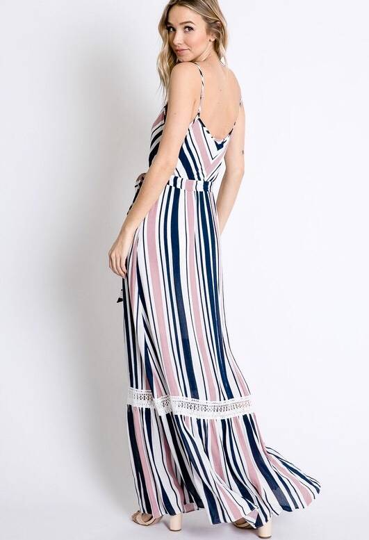 Pink and Navy Striped Spaghetti Strap Maxi Dress