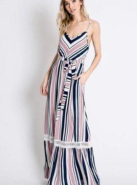 Pink and Navy Striped Spaghetti Strap Maxi Dress