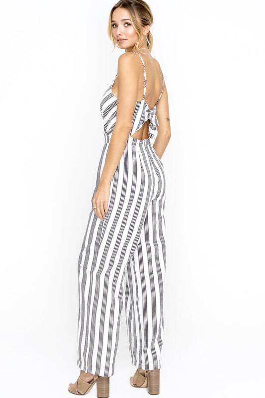 Off White and Black V-Neck Striped Open Back Jumpsuit
