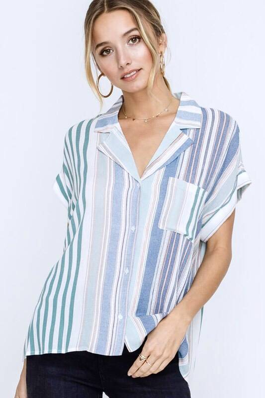 Sage Striped Button Up Top