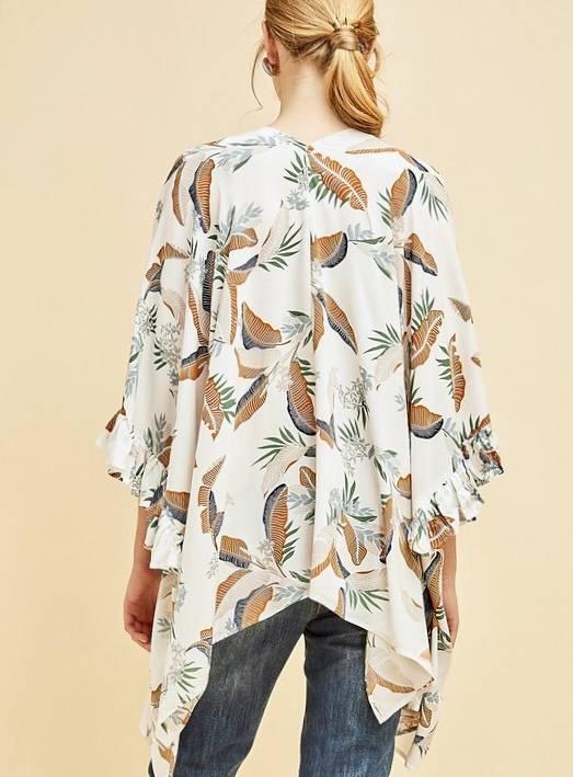 Ivory Hawaiian Leaf Print Kimono