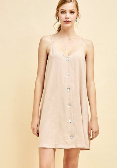 Sand Button Up Spaghetti Strap Dress