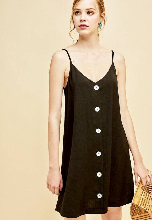 Black Button Up Spaghetti Strap Dress