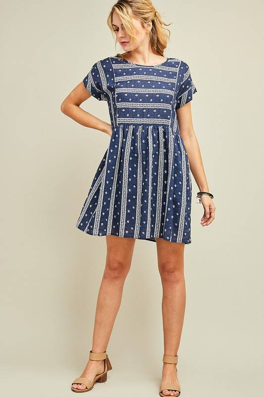Navy/White Mini Rolled Sleeve Dress