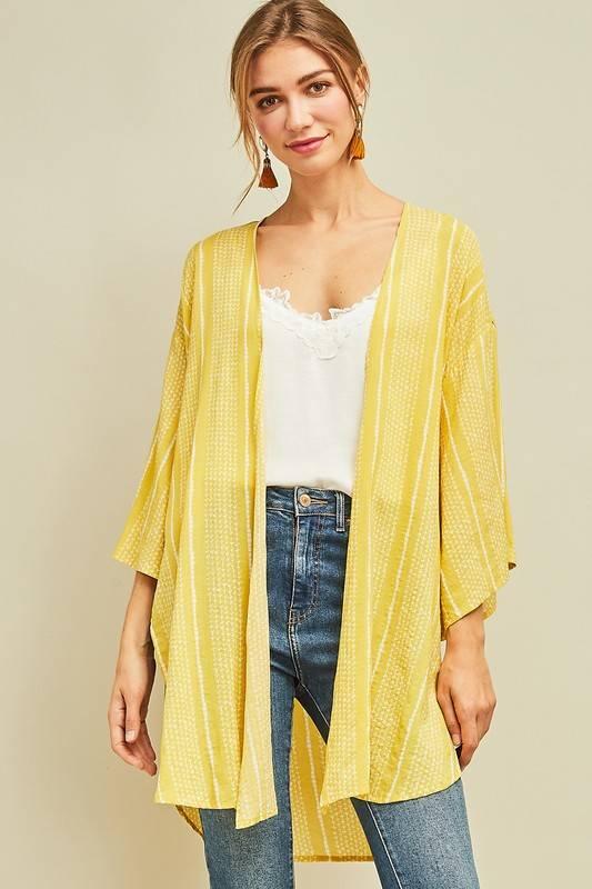 Lemon/White Mid Length Kimono