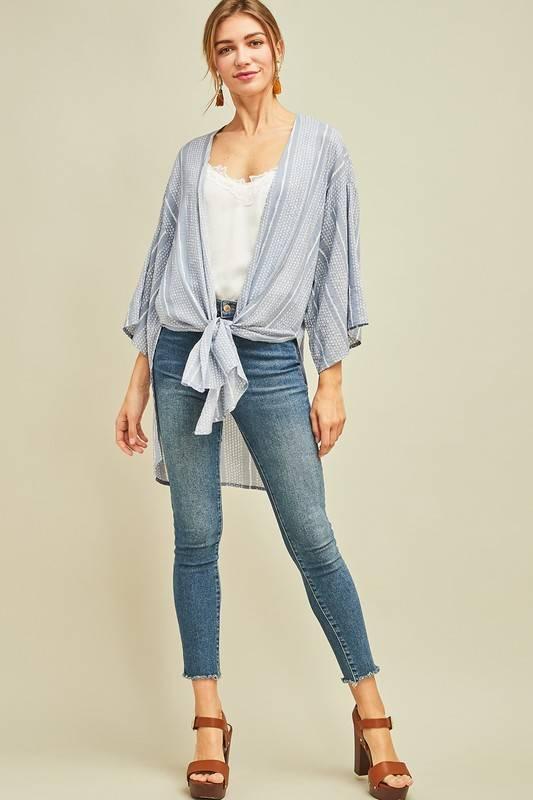 Dusty Blue/White Mid Length Kimono