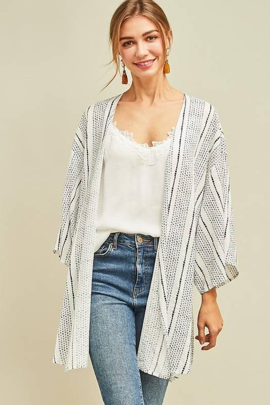 Off White/Navy Mid Length Kimono