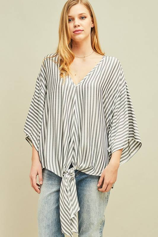 Navy/White Striped Front Tie Top