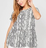 Grey Snake Print Cinched Top