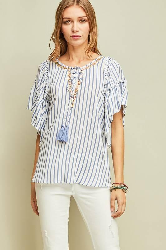 Blue/White Striped Peasant Top