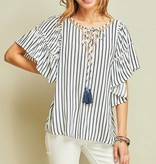 Navy/White Striped Peasant Top