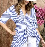 Blue Striped Hi-Low Button SS Top