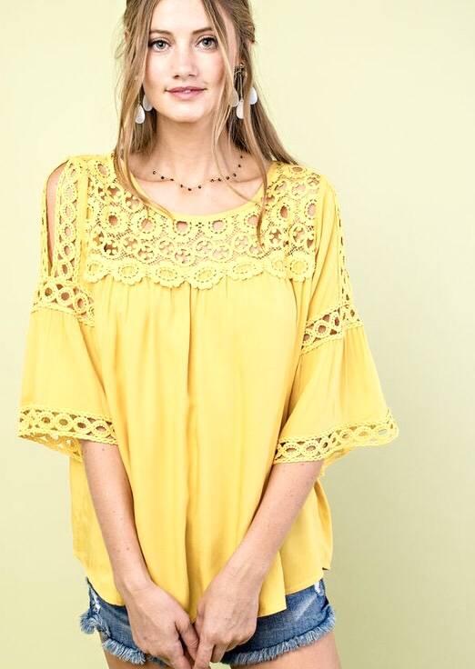 Mustard Slit Lace Shoulder Babydoll Top