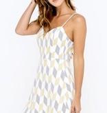 Mustard/Black Back Tie Mini Dress