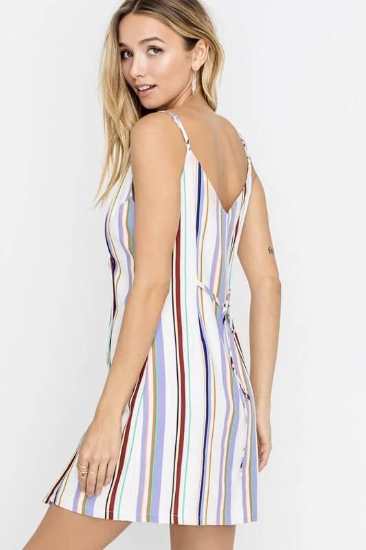 Mint Multi Striped Button Down Dress