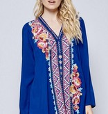 Royal Aztec/Floral Embroidered Top