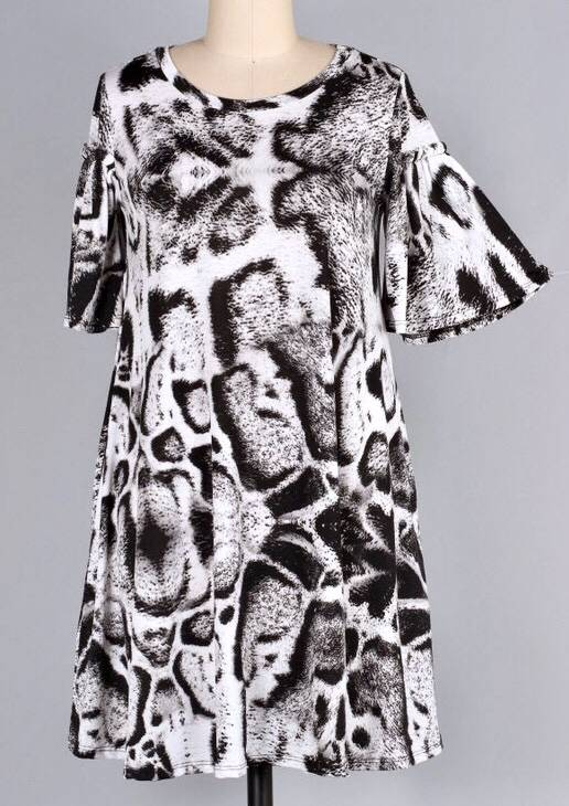 Grey Leopard Ruffle Sleeve Dress