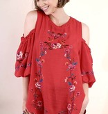 Red Embroidered Cold Shoulder Puff Sleeve Top