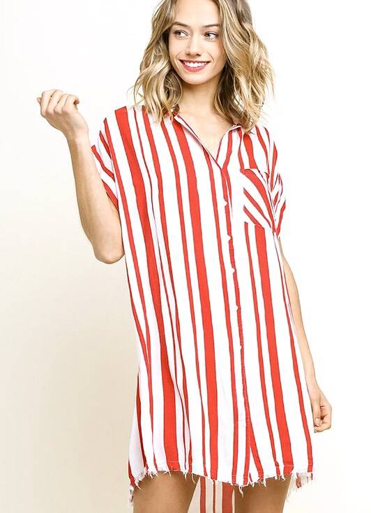 Tomato Red Striped Button Up Dress