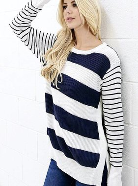 Navy Striped Knitted Sweater with Side Slit- SALE ITEM