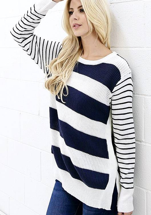 Navy Striped Knitted Sweater with Side Slit