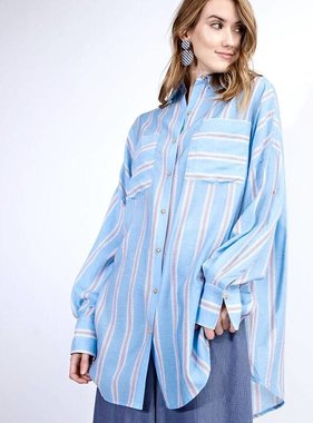 Blue Striped Over Sized LS Button Up Top