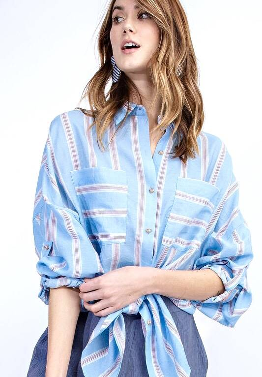 Blue Striped Over Sized LS Button Up Top- SALE ITEM