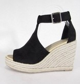 Peep-Toe Wedge Sandal Black