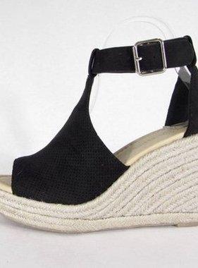 Peep-Toe Wedge Sandal Black