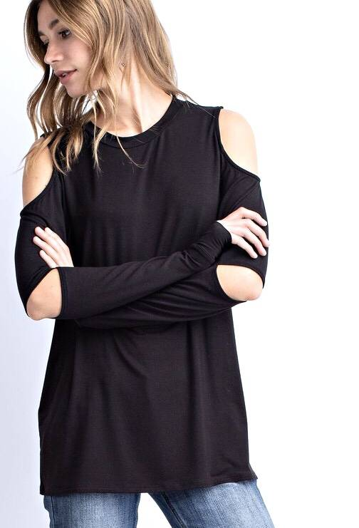 Black Two Cut Sleeve Top