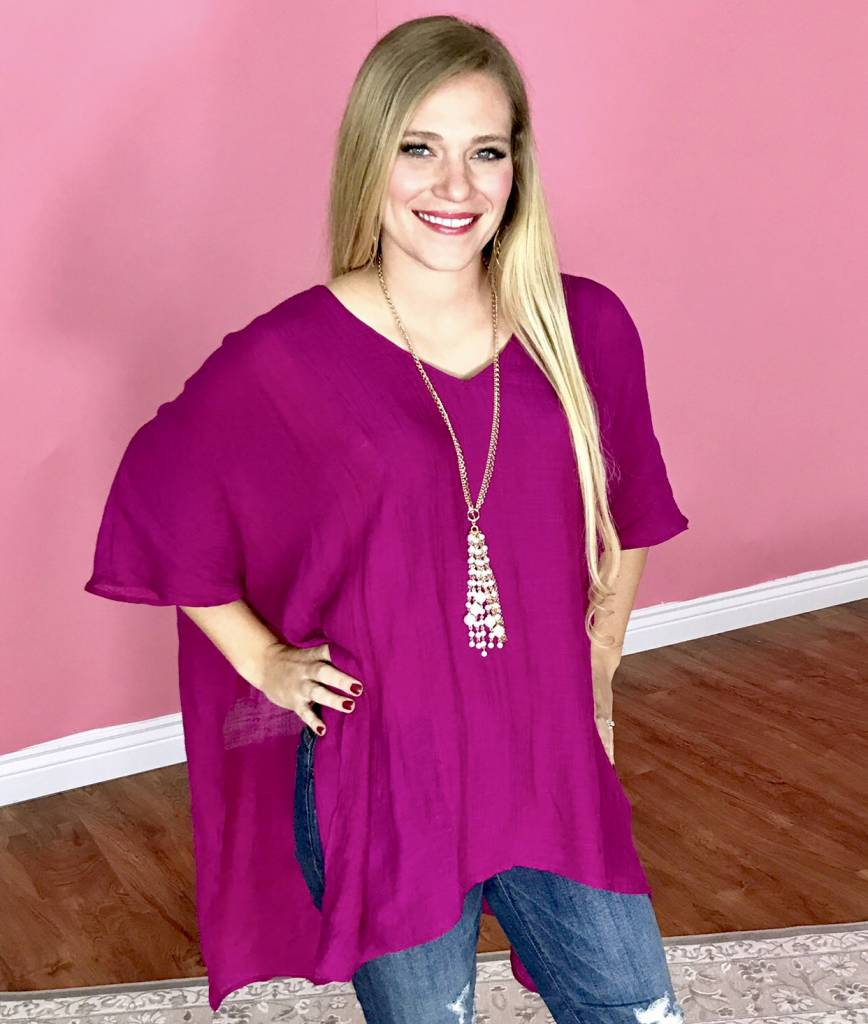 Berry V-Neck Caftan Top