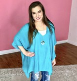 Turquoise V-Neck Caftan Top