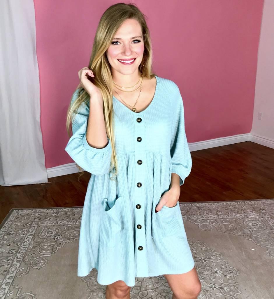 Dusty Blue Waffle Knit Babydoll Dress