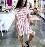 Off White/Red Mini Rolled Sleeve Dress