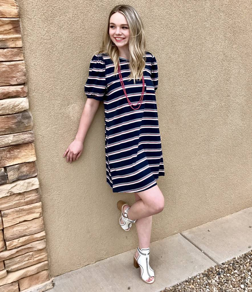 Navy Striped Puff Sleeve Dress