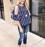 Navy Striped Ruffle Open Shoulder Top
