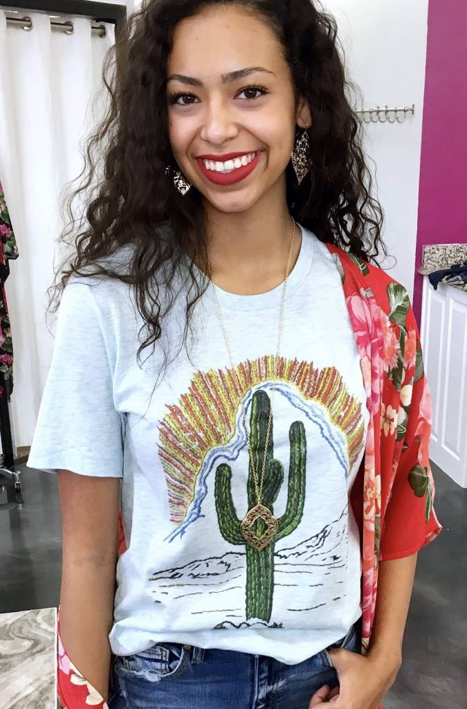 Sky Blue Cactus Sunset T-Shirt