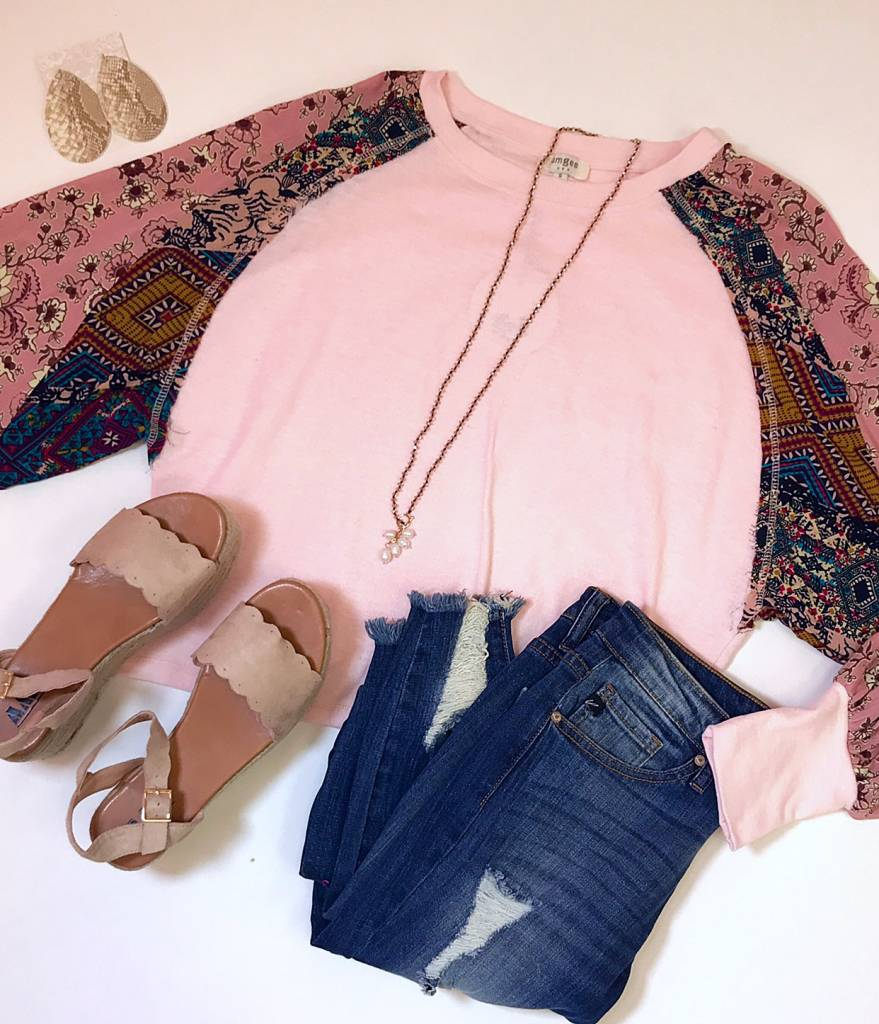 Blush Top with Mixed Floral Puff Sleeve