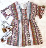 Multi Colored Vintage Print Dress